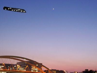 鴨池大橋と金星?、煌めくアテイチュードM4010、そして大きな月も